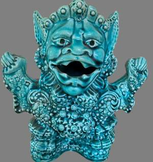 A Turquoise Majolica Vase As a Mythical Beast. Circa 1900