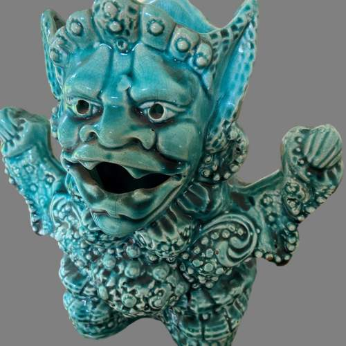A Turquoise Majolica Vase As a Mythical Beast. Circa 1900 image-2