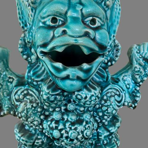 A Turquoise Majolica Vase As a Mythical Beast. Circa 1900 image-4