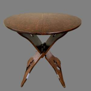 An Early 20th Century Pokerwork Folding Table
