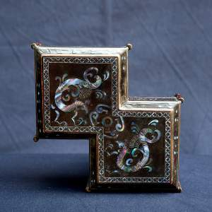 An Antique Japanese Square Conjoined Box and Cover