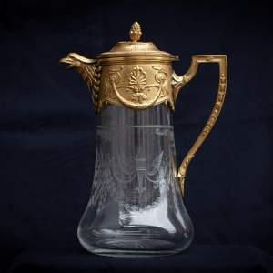 A Quality Antique Gilt Bronze and Glass Lemonade Jug