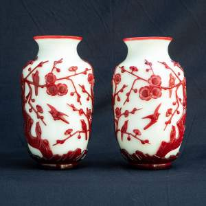 A Fabulous Pair of Chinese Peking Overlay Glass Vases