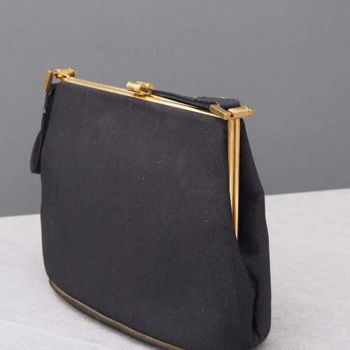 Dainty Black Grosgrain 1940's Waldybag image-6