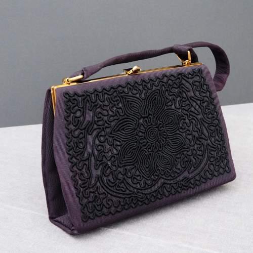 Black 1940's Embroidered Evening Bag image-1