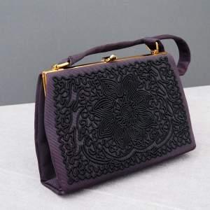 Black 1940's Embroidered Evening Bag