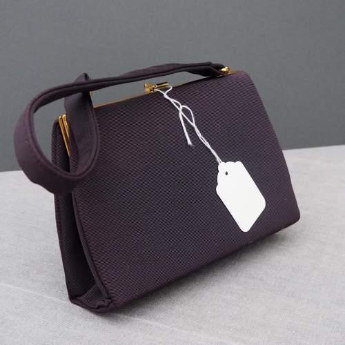 Black 1940's Embroidered Evening Bag image-2