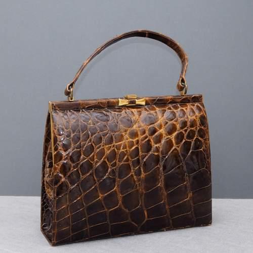 Stunning 1940's Glossy Brown Handbag image-2