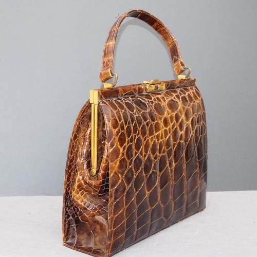 Stunning 1940's Glossy Brown Handbag image-3