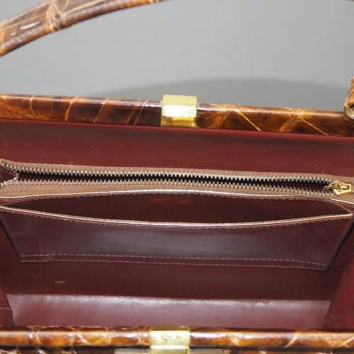 Stunning 1940's Glossy Brown Handbag image-4