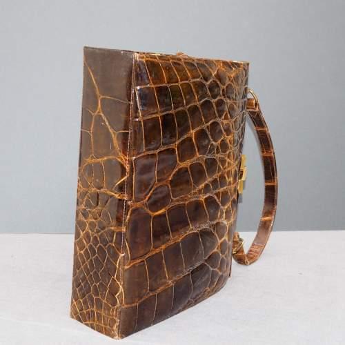 Stunning 1940's Glossy Brown Handbag image-5