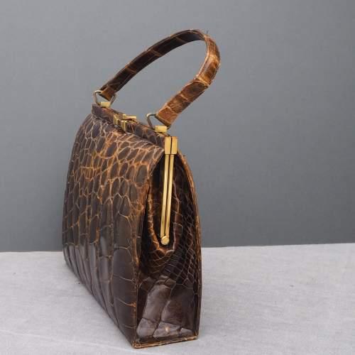 Stunning 1940's Glossy Brown Handbag image-6
