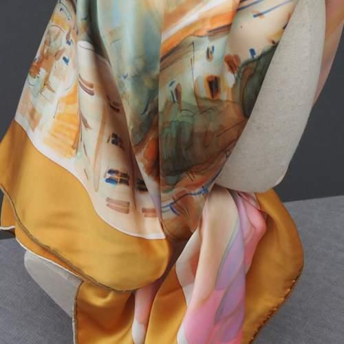 French Silk Satin Handmade Scarf image-2