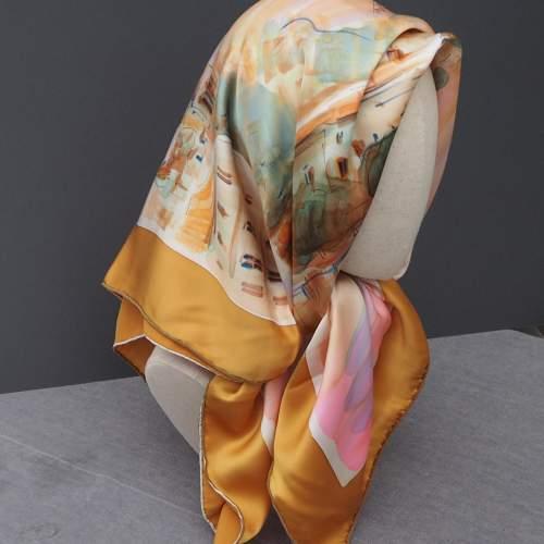 French Silk Satin Handmade Scarf image-1