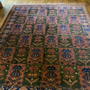 Old Hand Knotted Afghan Rug Unusual Colours