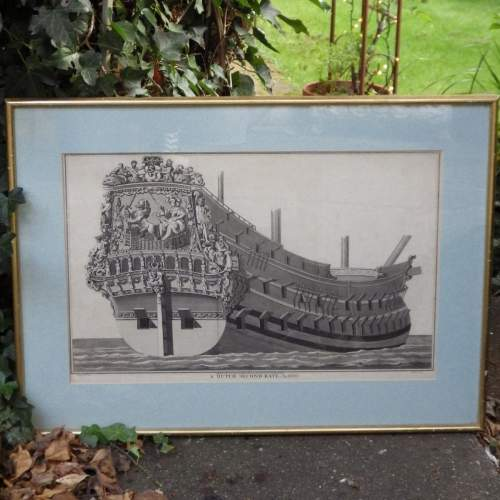 Georgian Ship Print Antique - 1801 - Dutch Second Rate Picture image-1