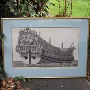 Georgian Ship Print Antique - 1801 - Dutch Second Rate Picture