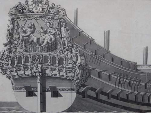 Georgian Ship Print Antique - 1801 - Dutch Second Rate Picture image-2
