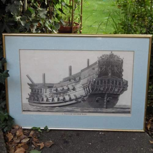 Georgian Ship Print Antique - 1801 - Spanish Second Rate Picture image-1