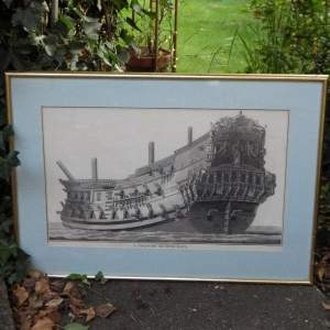 Georgian Ship Print Antique - 1801 - Spanish Second Rate Picture