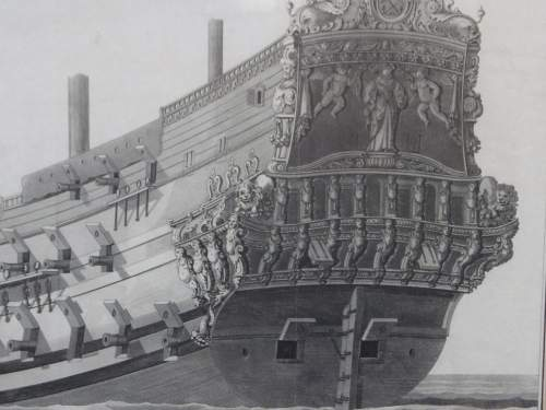 Georgian Ship Print Antique - 1801 - Spanish Second Rate Picture image-2