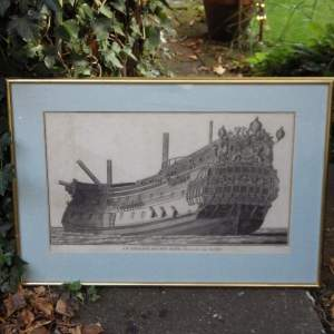 Georgian Ship Print Antique - 1801 - English Second Rate Picture