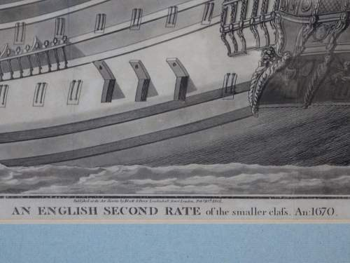 Georgian Ship Print Antique - 1801 - English Second Rate Picture image-3