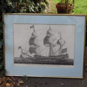 Georgian Ship Print Antique - 1802 - Sovereign of the Sea Picture