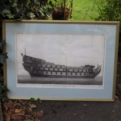 Georgian Ship Print Antique - 1796 - Side Royal Charles Picture image-1