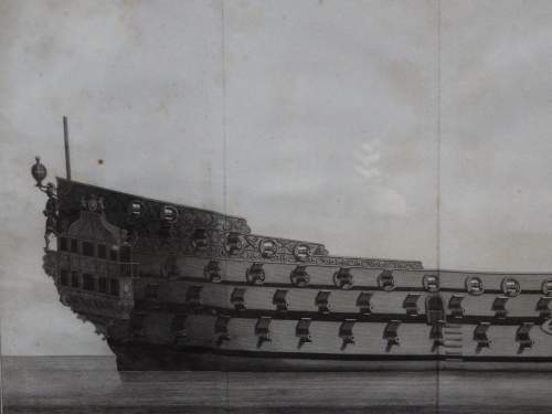 Georgian Ship Print Antique - 1796 - Side Royal Charles Picture image-2