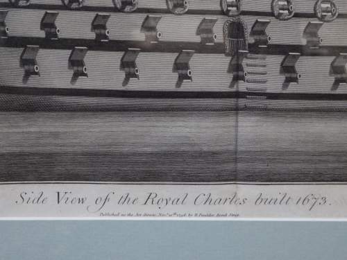 Georgian Ship Print Antique - 1796 - Side Royal Charles Picture image-3