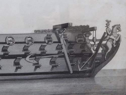 Georgian Ship Print Antique - 1796 - Side Royal Charles Picture image-4