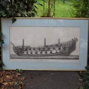Georgian Ship Print Antique - 1800 - The Royal Prince Picture