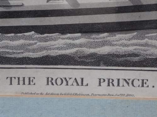 Georgian Ship Print Antique - 1800 - The Royal Prince Picture image-3