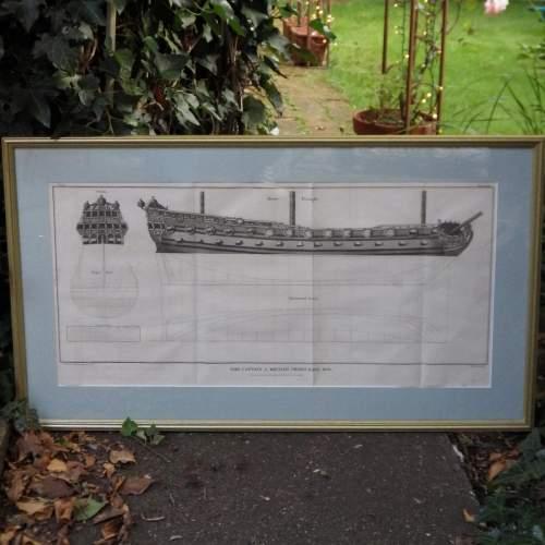 Georgian Ship Print Antique - 1801 - British Third Rate Picture image-1