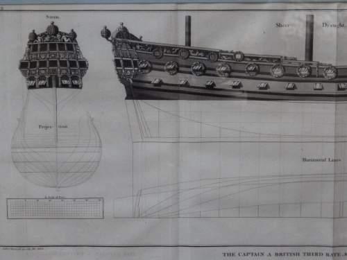 Georgian Ship Print Antique - 1801 - British Third Rate Picture image-2