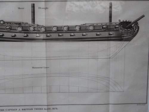 Georgian Ship Print Antique - 1801 - British Third Rate Picture image-3