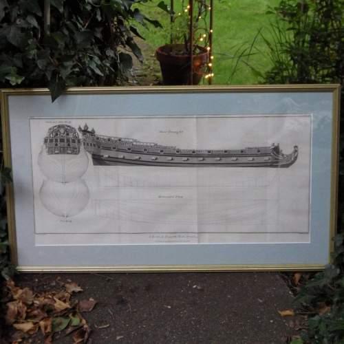 Georgian Ship Print Antique - 1802 - British Fourth Rate Picture image-1