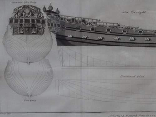 Georgian Ship Print Antique - 1802 - British Fourth Rate Picture image-2