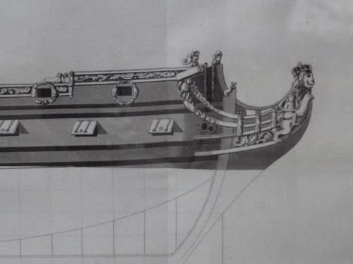 Georgian Ship Print Antique - 1802 - British Fourth Rate Picture image-3