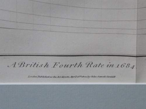 Georgian Ship Print Antique - 1802 - British Fourth Rate Picture image-4