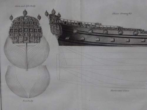 Georgian Ship Print Antique - 1802 - Fourth Rate 2nd Clef Picture image-2