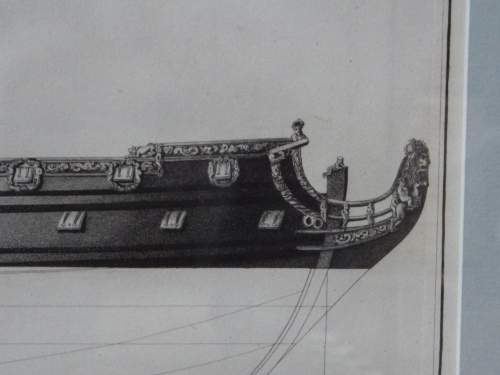 Georgian Ship Print Antique - 1802 - Fourth Rate 2nd Clef Picture image-3