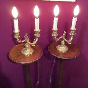 Pair of Gilt Ormolu Candelabra Lamps