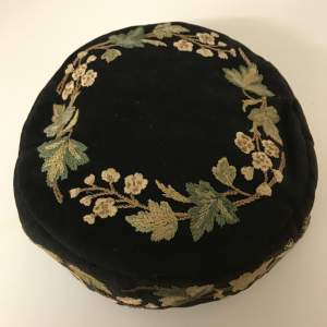 Victorian Smoking Hat Embroidered on Felted Wool