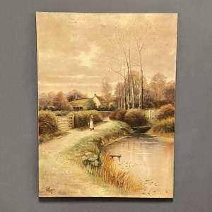 Edwardian Unframed Village Scene by G Page