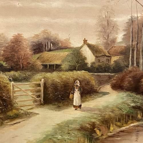 Edwardian Unframed Village Scene by G Page image-2