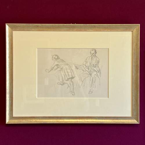 20th Century Pen Work of Raymond Sheppard Drawing his Daughter image-1