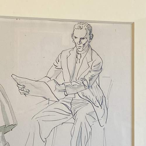 20th Century Pen Work of Raymond Sheppard Drawing his Daughter image-2