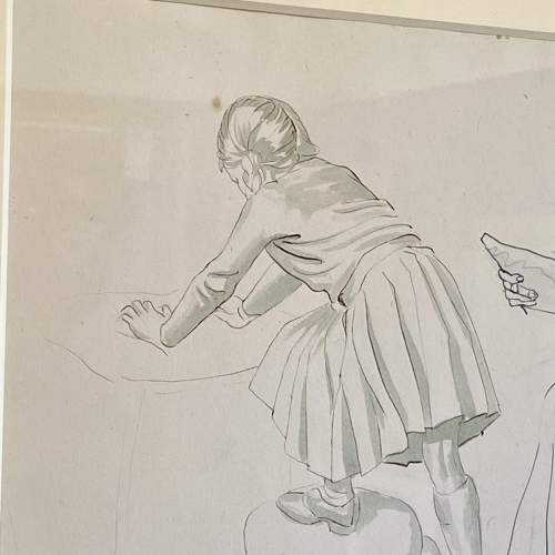 20th Century Pen Work of Raymond Sheppard Drawing his Daughter image-4